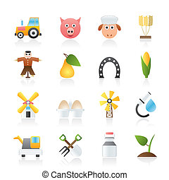 Agriculture and farming icons - vector icon set