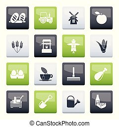 Agriculture and farming icons over color background