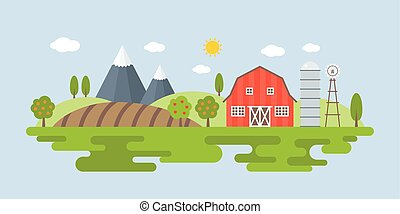 Agriculture and Farming landscape Info graphic, flat design and elements