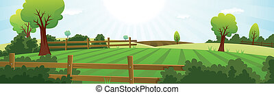 Illustration of a spring or summer season agriculture and farming wide landscape with fields, pasture, meadows, hedges, fences, trees, lawn and grass for dairy cows