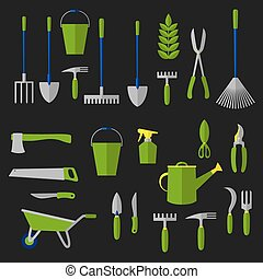 Agriculture and gardening tools flat icons - Agricultural...