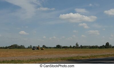 Agriculture and tractor collects straw bales on the farm plant