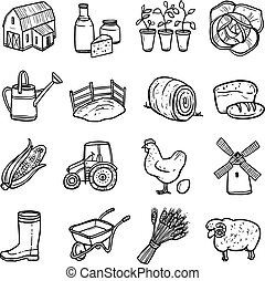 Agriculture Black White Icons Set