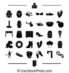agriculture, clothing, sports and other web icon in black style. tools, equipment, atelier, Furniture icons in set collection.