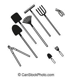 agriculture, divers, outils jardinage, ensemble