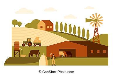 Agriculture, Farm cartoon landscape flat vector illustration