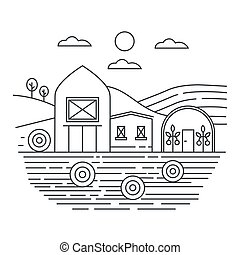 Agriculture farm in fields thin line concept logo template vector illustration.