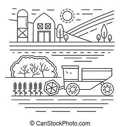 Agriculture farm thin line concept landscape template vector illustration.