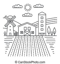 Agriculture farm with fields thin line concept logo template vector illustration.
