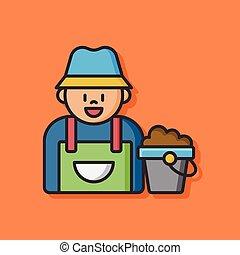 agriculture farmer man icon