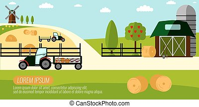 Agriculture Farming and Rural landscape background. Elements for info graphic, websites.Retro style banner. Vector illustration.