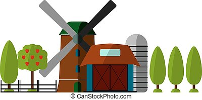 Agriculture Farming and Rural landscape background. Barn, Mill, Tree sign. Elements for info graphic, websites.Retro style banner. Vector illustration.