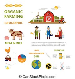 Agriculture farming organic food infographic elements concept vector.