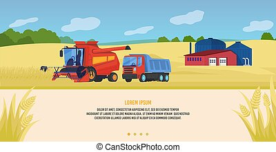 Agriculture farming vector illustration, cartoon flat agricultural tractors and combine harvesters working in cultivated organic farm fields