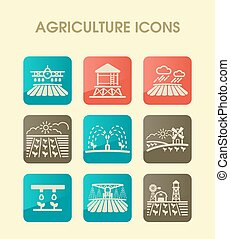 agriculture, ferme, signe, champ, icon.