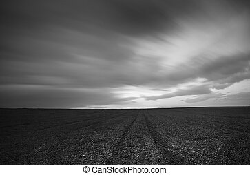 Agriculture field and cloudy sky
