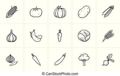 Agriculture food sketch icon set.