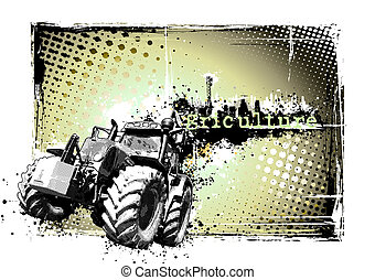 illustration of the tractor on the grungy background