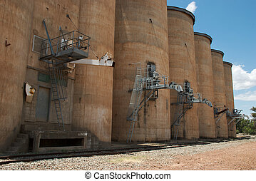 agriculture - grain transfer shutes on the silos