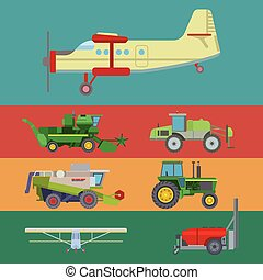 Agriculture harvest machine vector industrial banner farm equipment tractors transport combines and machinery excavator illustration.