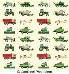 Agriculture harvest machine vector industrial farm equipment tractors transport combines and machinery excavator pattern background illustration.