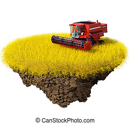 Agriculture: harvesting grain field
