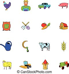 Agriculture icons set cartoon