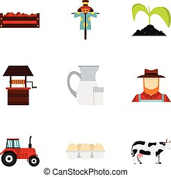 Agriculture icons set, flat style