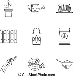 Agriculture icons set, outline style