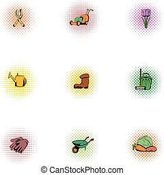 Agriculture icons set, pop-art style