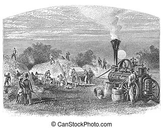 Threshing - Agriculture in Dakota, USA: Threshing. Image...