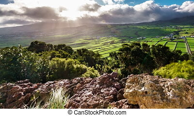 Agriculture in Terceira panoramic time lapse with dark...
