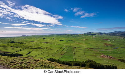 Agriculture in Terceira panoramic time lapse, Azores in...