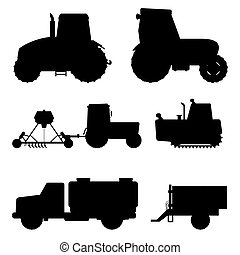 Agriculture industrial farm equipment black silhouette machinery tractors combines and excavators vector illustration.