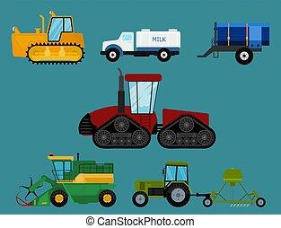 Agriculture industrial farm equipment machinery tractors combines and excavators vector illustration.