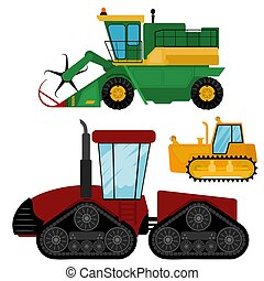 Agriculture industrial farm equipment machinery tractors combines and excavators vector illustration.