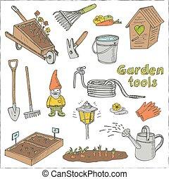 agriculture., jardinage, griffonnage, outils, jardin, équipement, installations, set., divers