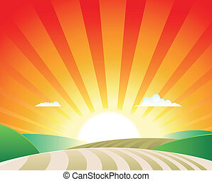 Agriculture Landscape - Illustration of a simple agriculture...