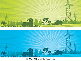 Agriculture landscape with machineries and high-voltage line...