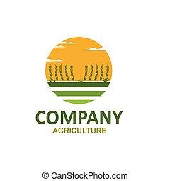 agriculture, logo, vecteur, icône, ferme