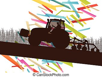 Agriculture machinery farm tractor vector illustration in farming landscape abstract background