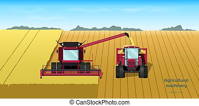 Agriculture machinery. Harvester combine and tractor on field. Industrial landscape. Farmer work panorama. Harvesting scene. Vector illustration