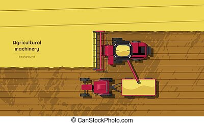 Agriculture machinery. Top view of harvester combine and tractor on field. Industrial landscape. Rural background. Farmer work panorama. Harvesting scene. Vector illustration