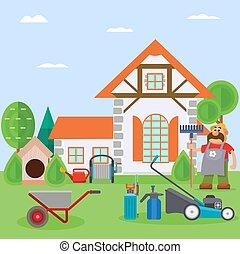 agriculture, maison, confort, vecteur, dehors, soin, outils...