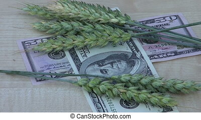 agriculture money business concept %u2013 rotate wheat ears...