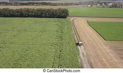 agriculture, panoramique, en mouvement, bourdon, camion,...