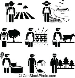 A set of pictograms representing the jobs and careers in agriculture and meat production business industry. They are farmer, fisherman, livestock breeder, gardener, and forestry.