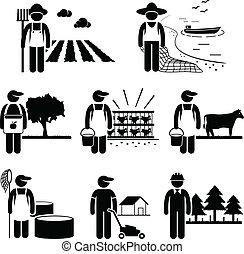 Agriculture Plantation Farming Job - A set of pictograms...