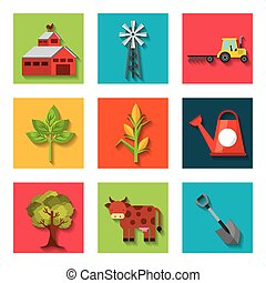 agriculture production set icons