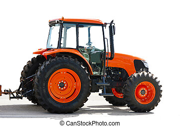 Agriculture red tractor on white